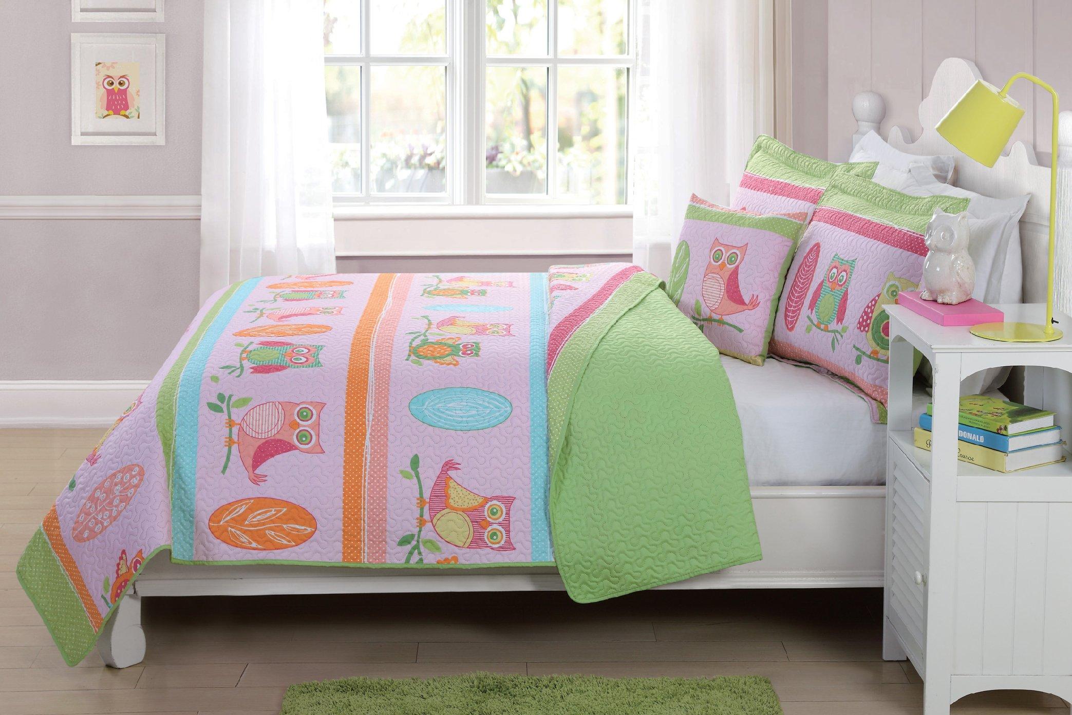Fancy Linen Bedspread Coverlet 3 PC Twin Size Owl Pink Green Blue Orange Reversible Kids/Teens/Girls New # Hoot