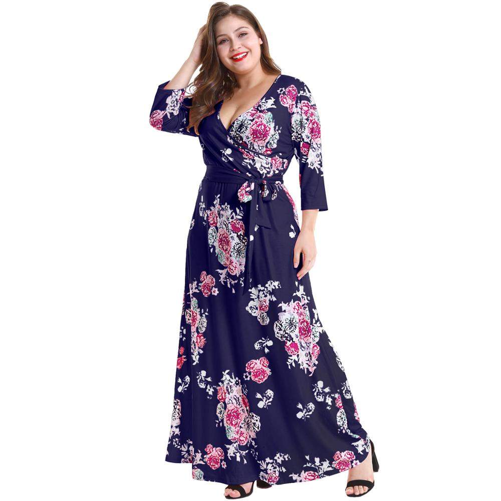 Ready to ship printed dresses for big lady OEM ODM floral dress plus size floral maxi dress фото