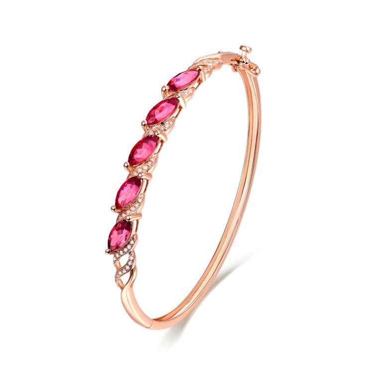 Gemnel new arrival rose gold garnet zirconia bangle bracelets for women
