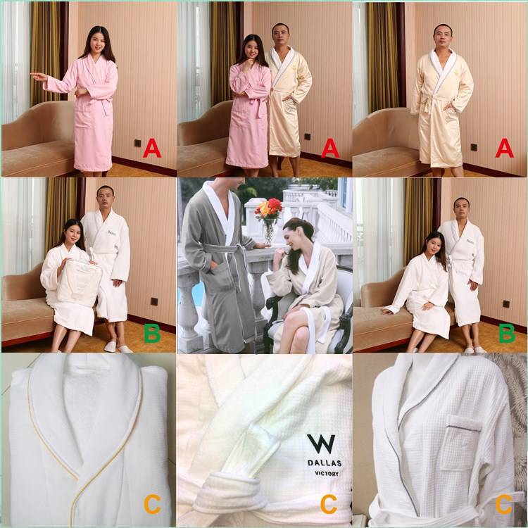 100% Cotton Terry Or Velour Knit Terry Cloth Or Coral Fleece Or Flannel Double Loves Bathrobe As AdultsGift Set