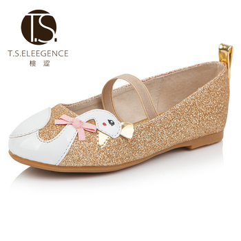 Kids Fashion Glitter Princess girls ballet flat shoes cartoon embroidery ballerina  shoes 3939c9c0835a