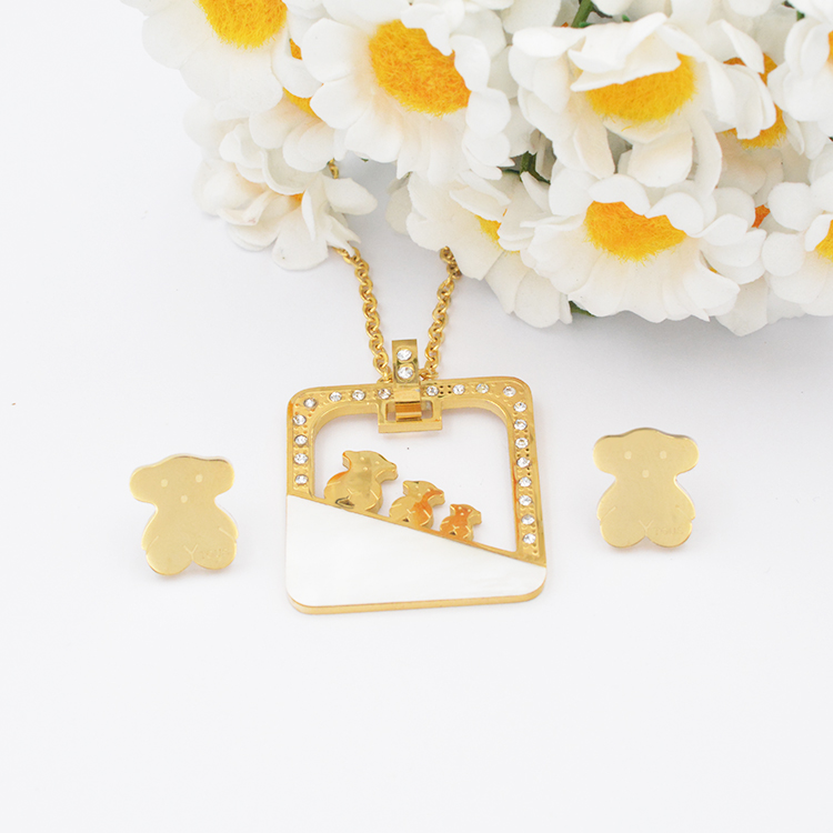 2017 Chinese necklace and earrings jewelry bear 316 stainless steel jewelry
