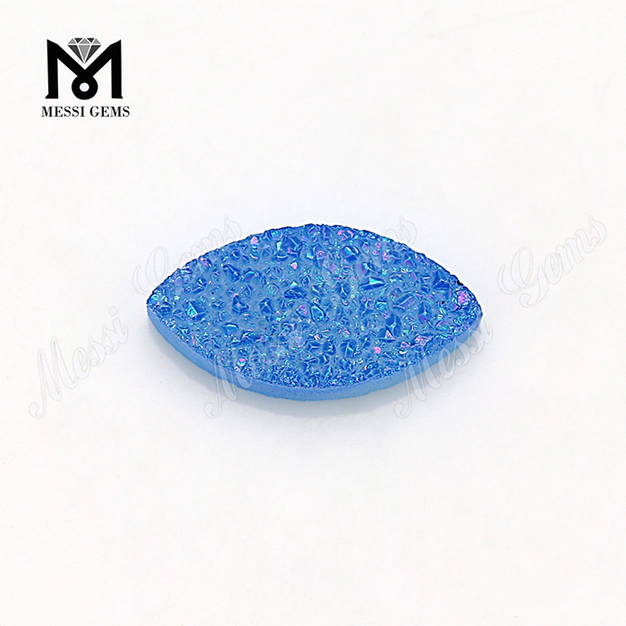 marquise shape natural gemstone blue druzy stone