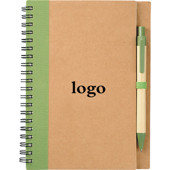 Oempromo custom Eco spiral notebook with pen