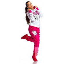 2015 Autumn Spring Minnie Mouse Printed Sport Suit Tracksuits Women Cartoon Sweatshirt Set Girls Hoodies And Pants Dropship S-XL