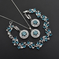 Latest Design Antique Gold Plating Jewelry Set , Set of Necklace Bracelet Earring, Hot Sale Fashion Blue Gem Jewelry Set for Wom