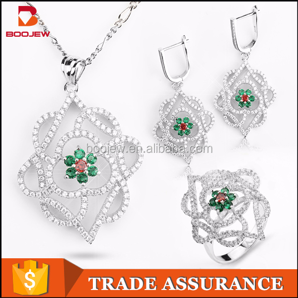 luxury jewelry displays sets statement jewelry set green red cubic zircon stone hongkong silver women jewellry set