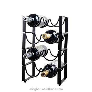 4 Bottle Black Finishing Wine Bottle Holder Hardware Iron Wine Rack