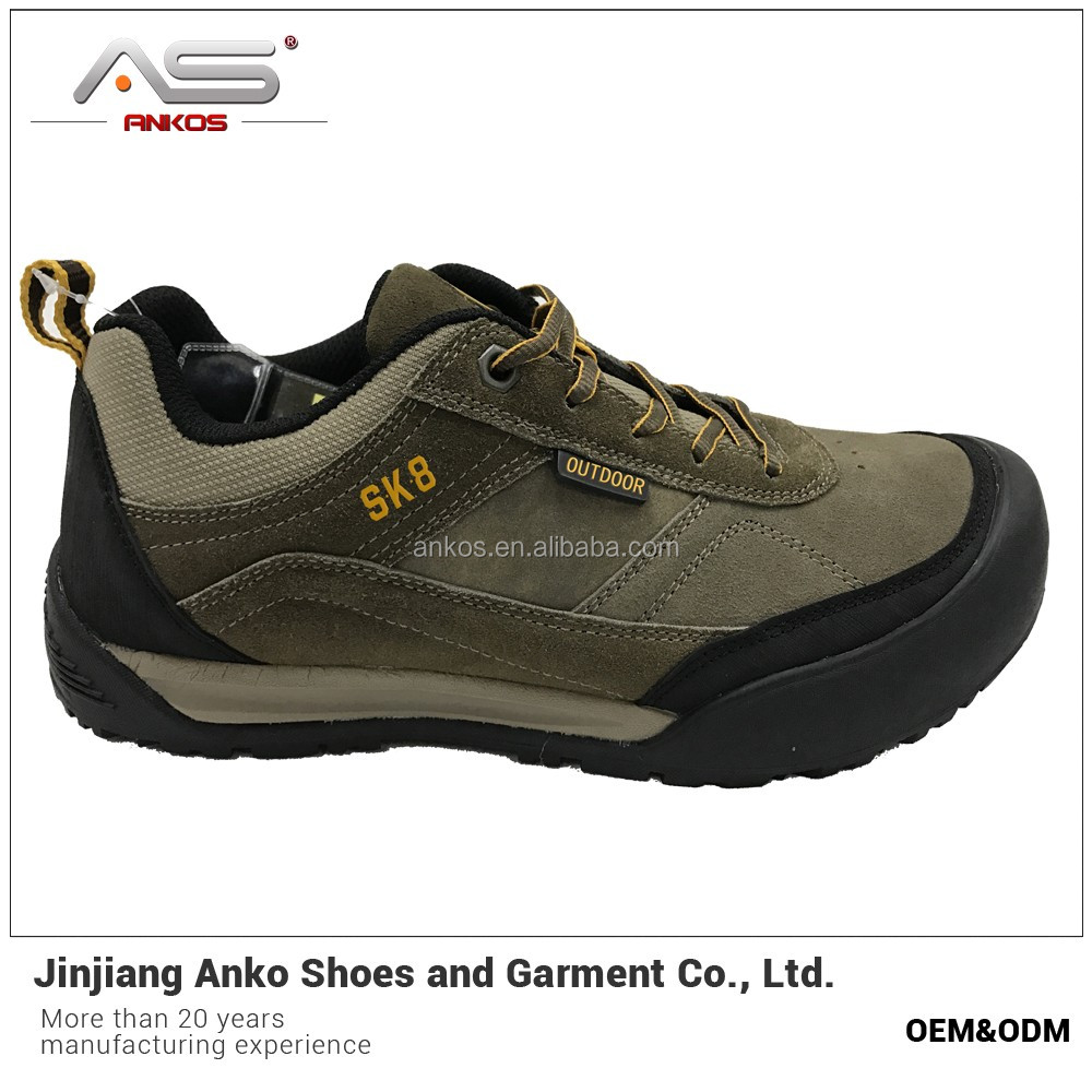 simply style hiking shoe with cow suede leather waterproof 2017 new style