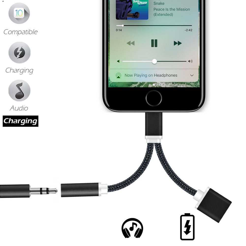 2 in 1 iphone 8 adapter , COSCOD Lightning Adapter and Charger , Lightning to 3.5mm Aux Headphone Jack Audio Adapter for iphone X / 8 / 7 / 7 plus - Simultaneous Music and Charge