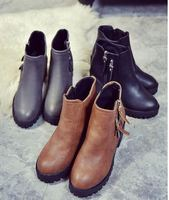 New Autumn Winter ladies Short Flat Heels boot women Genuine Leather Martin Boots Side Zipper shoes