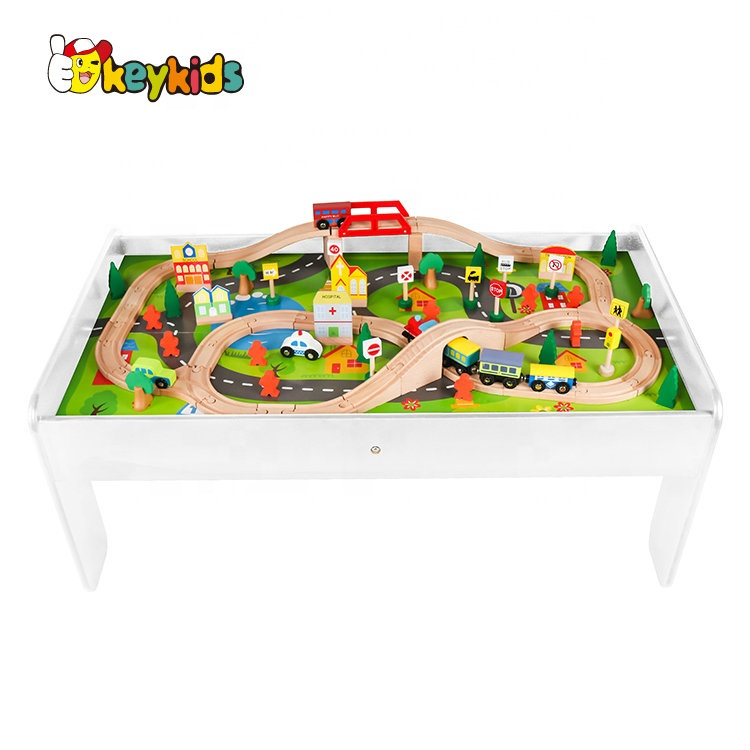 Top sale kids white wooden train play table for wholesale W04C009C