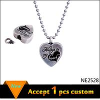 2016 Fashion for Women Filigree Heart Wish Box Antique Silver Necklace with Small Ball Chain