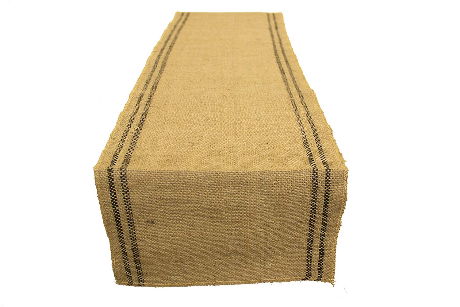 AAYU Brand Premium Jute Burlap Table Runners | Two Black Stripes Inlay | 12 inch x 10 Yards | No-Fray | Food Grade Burlap | Eco-Friendly Natural Product | 360 inches Long Runner