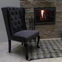 Button Tufted Ring Back Dark Grey Velvet Wing Chairs for Dining Room