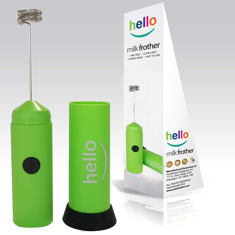 MatchaDNA Handheld Electric Milk Frother (Hello - Green)