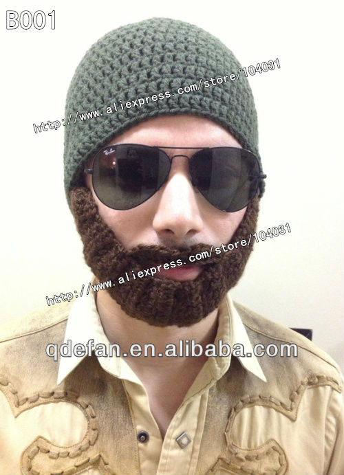 Hot 2013 New Arrival Handmade Popular Crochet Beard Beanie Hat