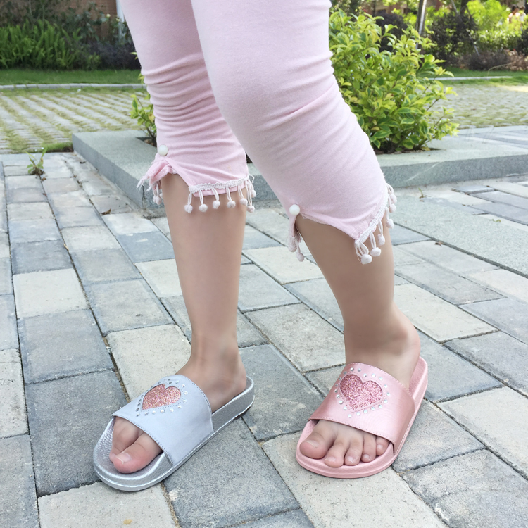girl pink fashion slides children shoes slippers for kids