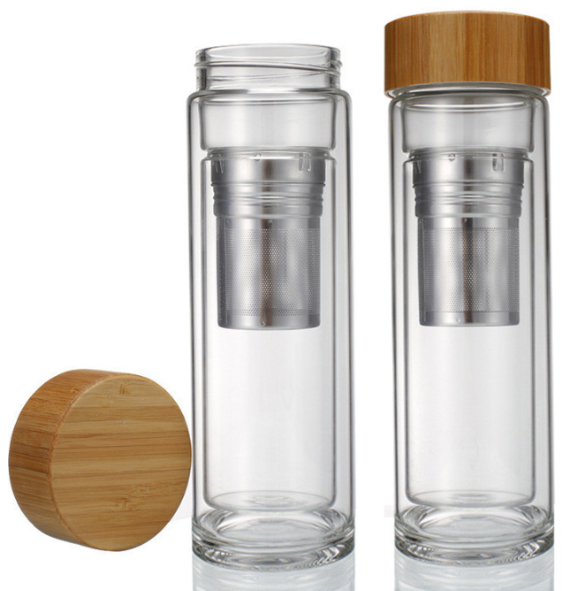 Double Wall Bamboo Lid Glass Bottle With Tea Infuser Water