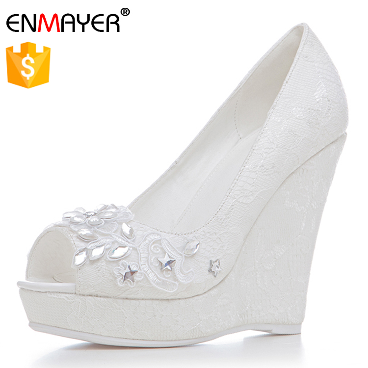 White Lace Wedding Lady Wedge Shoes Bride Fancy Branded Wedding