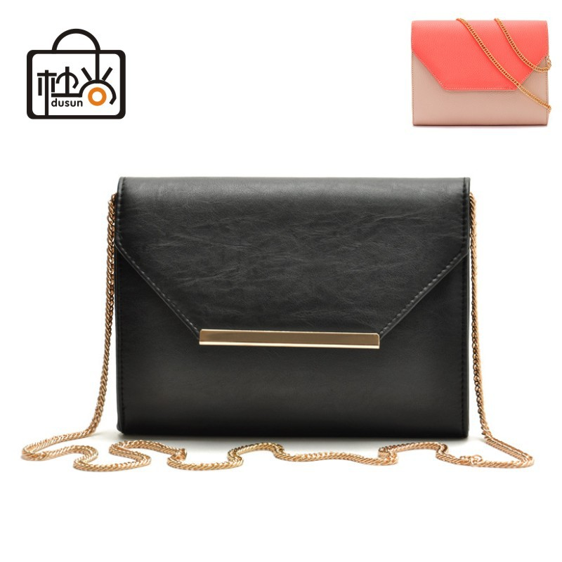 DUSUN Fashion 2014 Women bag small brand design women messenger bags black and pink women shoulder bags chains pu leather 2014