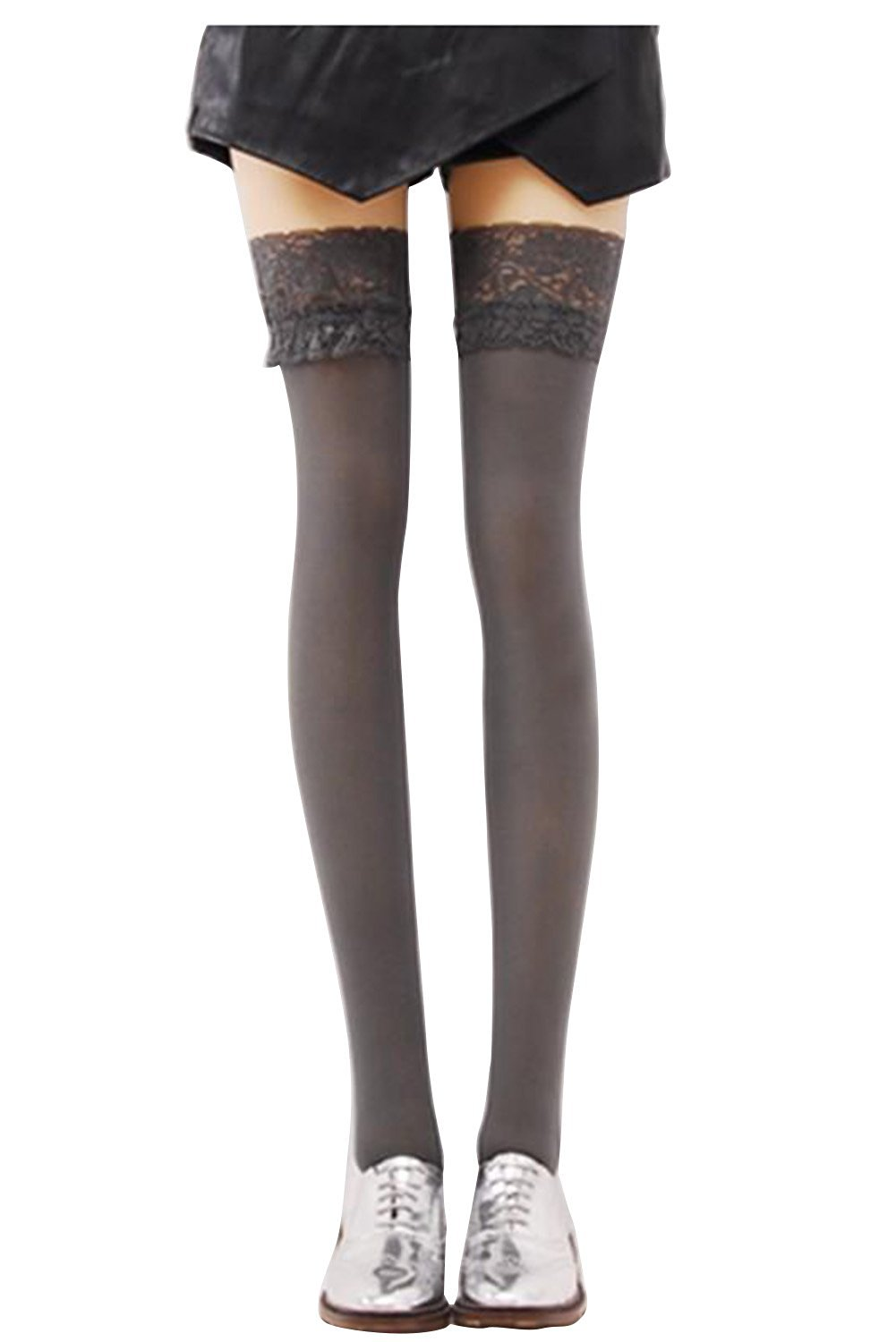 Over Knee Stockings - SODIAL(R) Sexy Fashion Women Lace Opaque High Socks Over Knee Thigh Stockings Gray