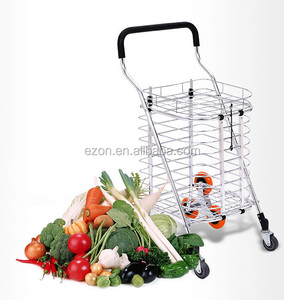 Aluminum alloy folding shopping cart with cover, Portable durable folding hand cart,Large capacity food shopping trolley