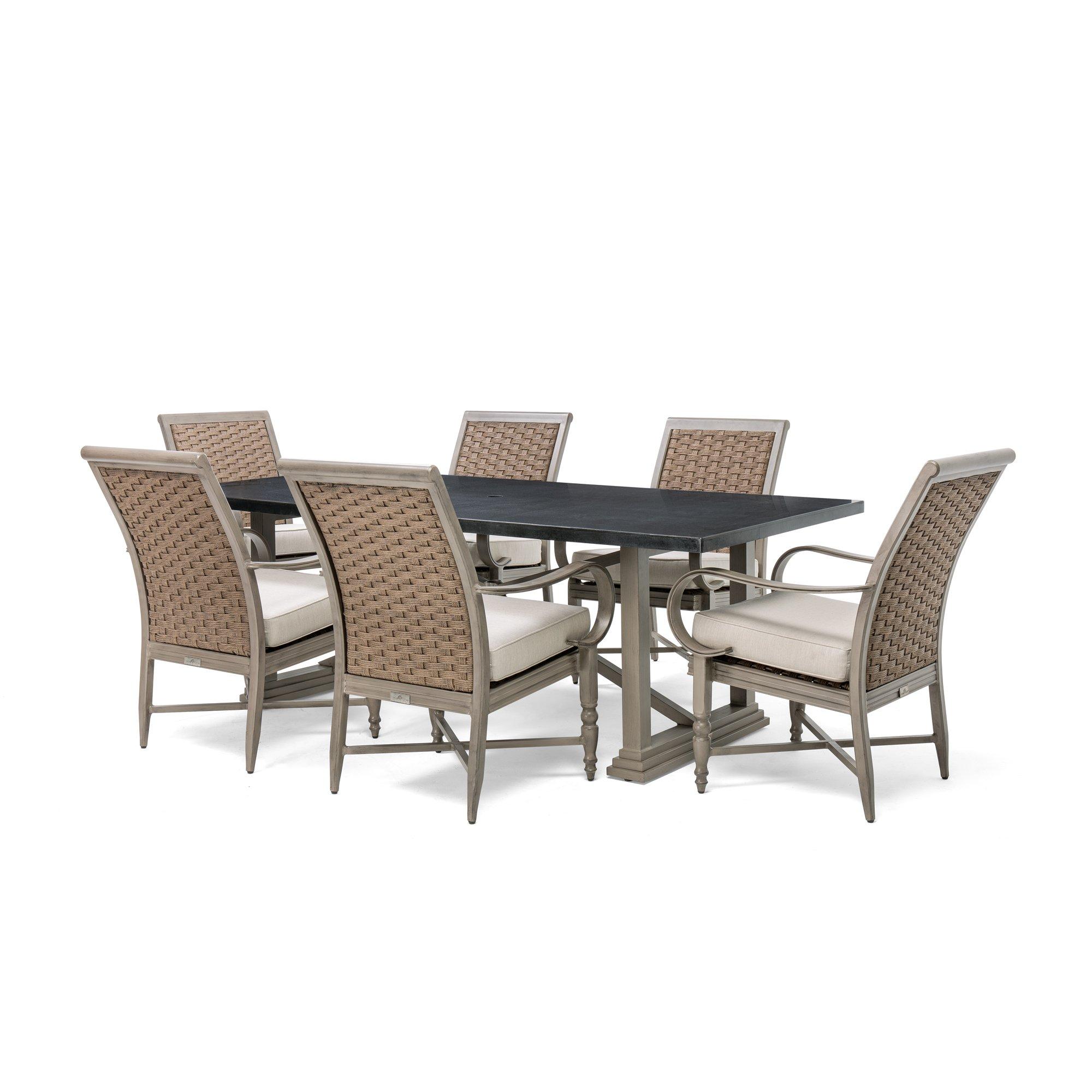 Blue Oak Outdoor Saylor Patio Furniture 7 Piece Dining Set (Rectangular Aluminum Top Dining Table, 6 Stationary Dining Chairs)