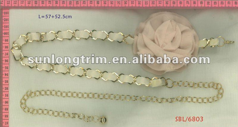 Big flower design metal chain belt
