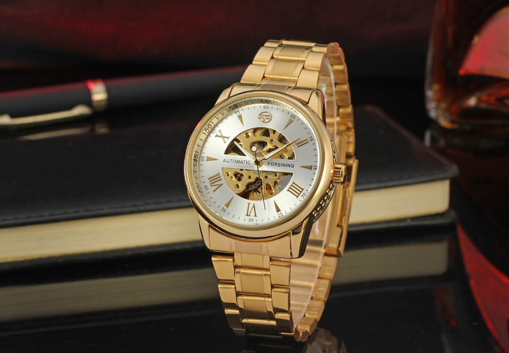 Forsining Designer Best Mens Luxury Gold Skeleton Steel Automatic Mechanical Online Watches
