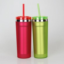Wide mouth insulated aluminum water bottle straw