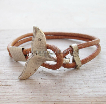 Whale Tail Bracelet Nautical Beach Jewelry Leather And Metal Silver