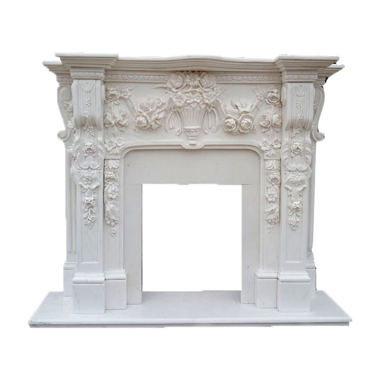 Natural Fangshan White Marble Carved Indoor Wood Burning Fireplace