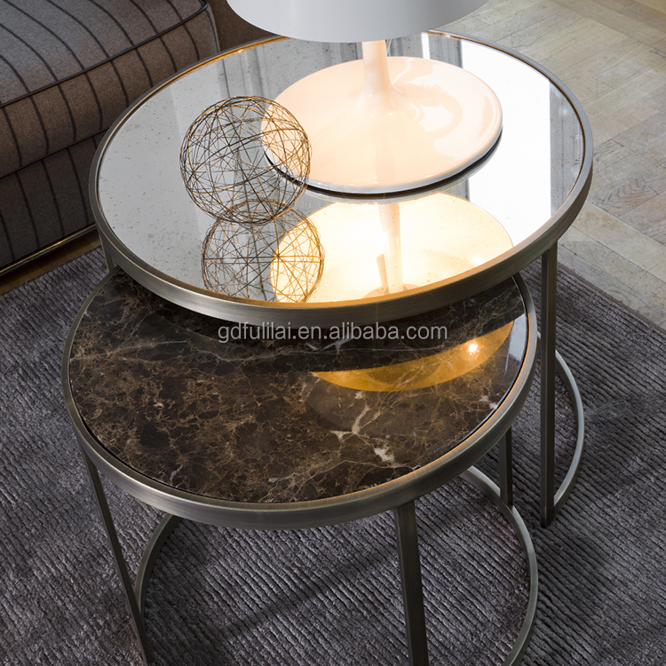 Mirrored italian Designer Round Side Table