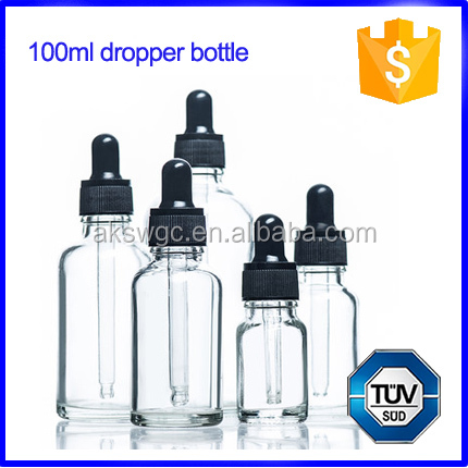 New good 100ml clear perfume glass bottle, glass dropping bottle