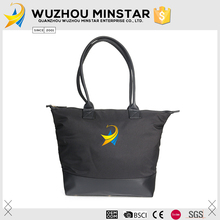 Reliable manufacturers black pu leather China brand handbag