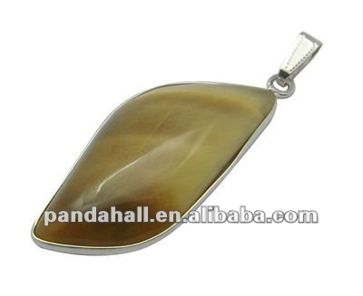 Gemstone Pendants, White Tiger Eye, glue pendant bail, Brown, 24x64x7.5mm(G-Q183-12)
