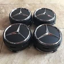 New Set of 4 Raised Center Wheel Caps For Mercedes Benz AMG Wheels 75mm Black 4pcs *US Stock**