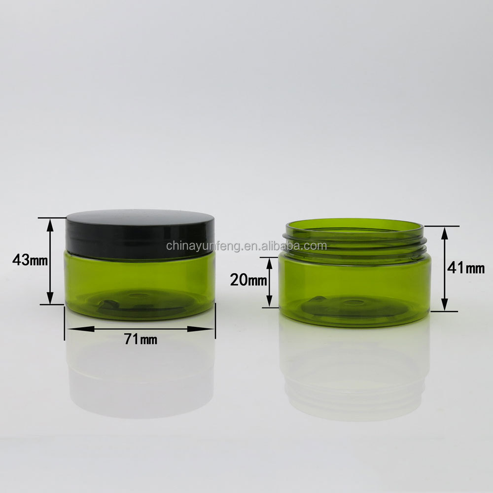 Promotion 100g green pet plastic jar with plastic black screw cap for cosmetic