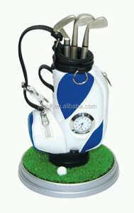 Mini golf bag with watch pen holder promotional golf desktop gifts