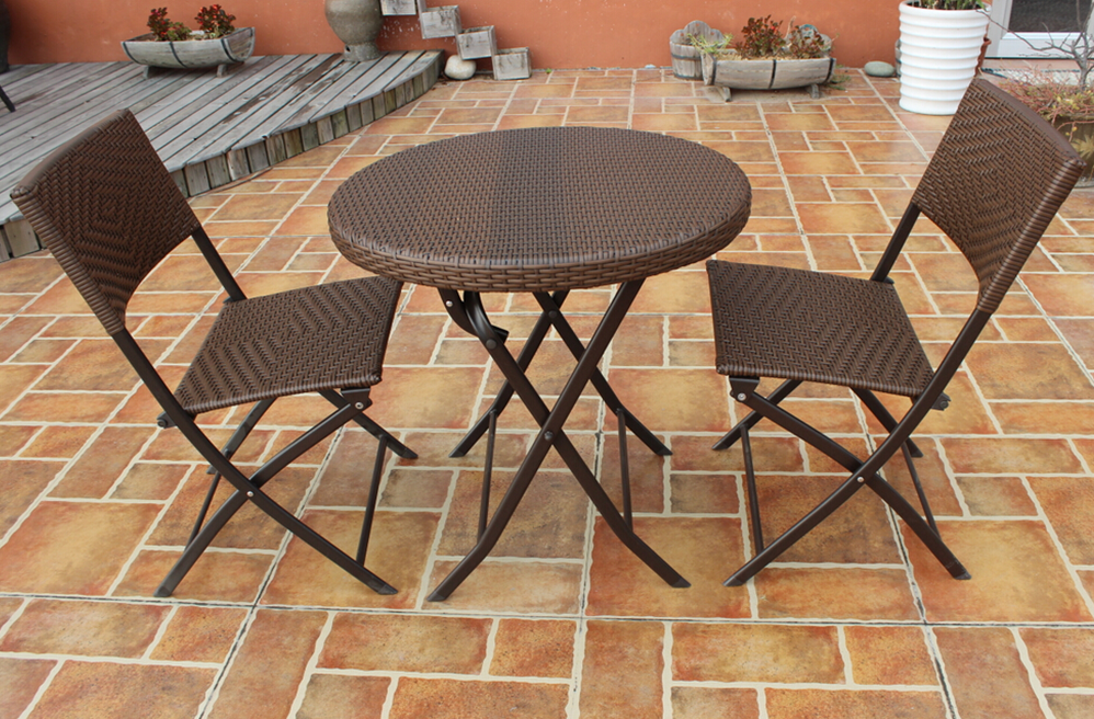 Outdoor furniture 3pc Folding Round Table And Chair Set Rattan Dining Set Wicker Rattan Wicker Nesting Patio Coffee Table Set