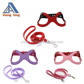 Adjustable Buckle Closure Belt Dog Harness and Leash Dog Eyeglass Chest Strap and Bone Tag Leash Set