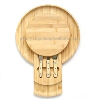 Bamboo cheese board cheese cutting boards with knife