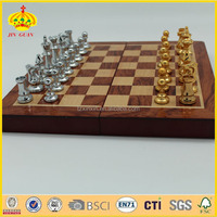 high grade wooden chess box with the metal chess pieses chess sets india