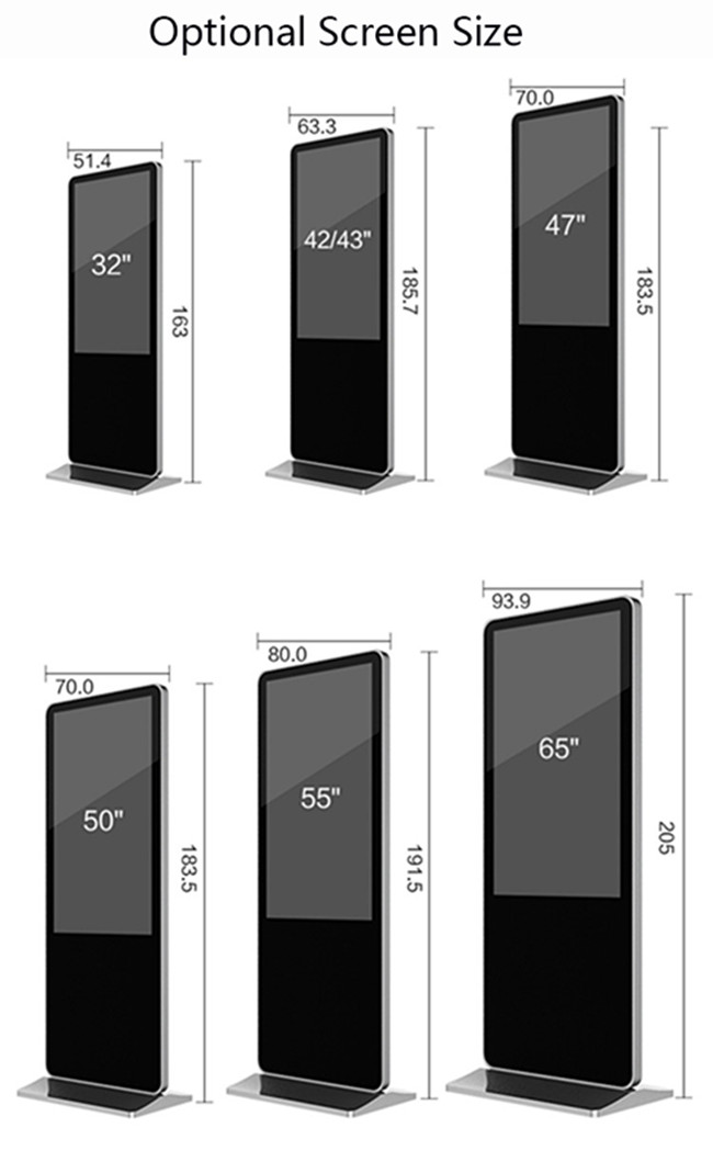 Floor standing 65 inch Windows system digital signage display advertising screen