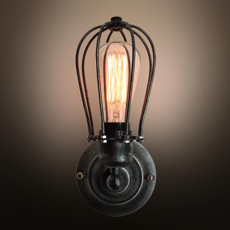 Vintage Iron Wire Cage Wall Lamp Industrial Rustic Wall