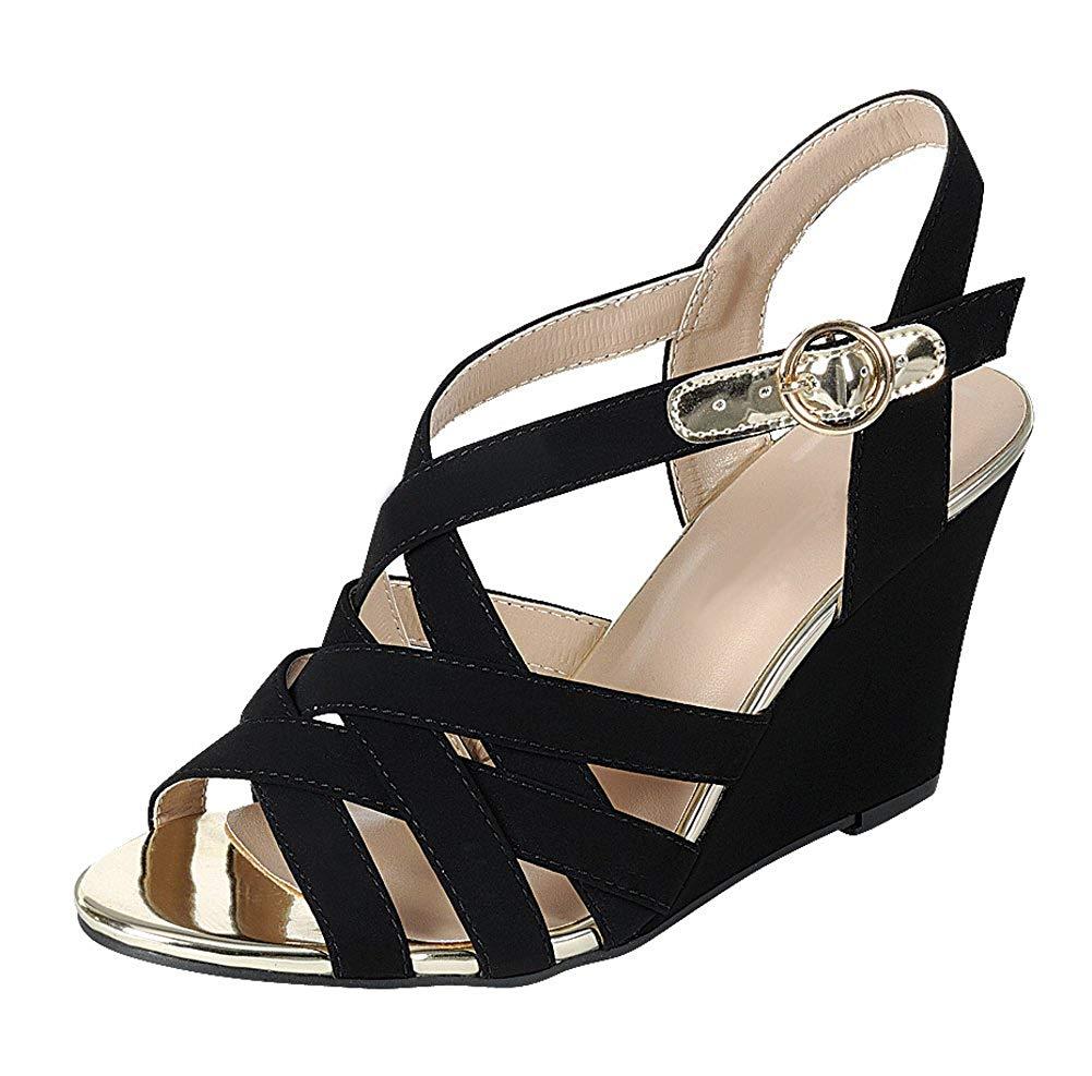 40a88e805d6 Get Quotations · Cambridge Select Women s Open Toe Crisscross Lattice Woven  Cutout Ankle Strappy Buckle Wedge Sandal