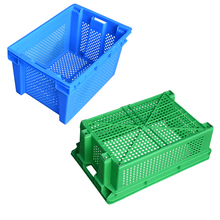Heavy duty stackable vented plastic crate for supermarket
