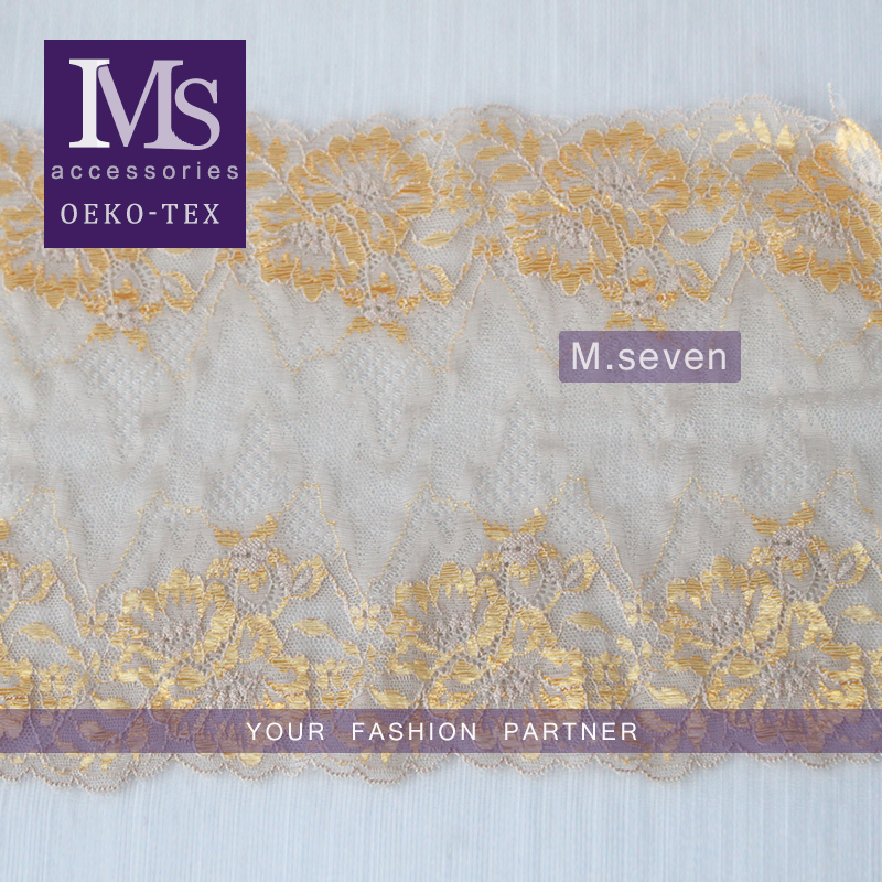 100% embroidery latest design in gold color fower elastic band lace frontal for dress