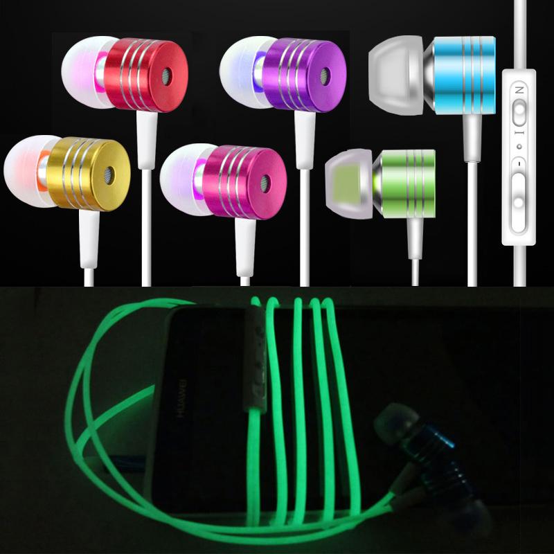 Hot Cool Luminous Headphones Glow In The Dark In-Ear Metal